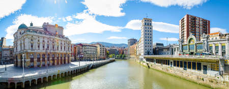 BILBAO, SPAIN - OCTOBER 17, 2014: Nervion River and and the old center in Bilbao, Biscay, Basque Country, Spain.
