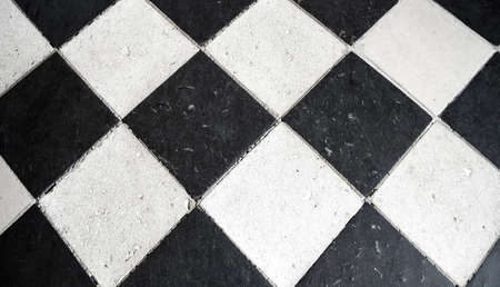 Tiled floor in black and white background
