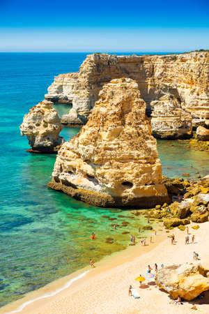 praia: A view of a Praia in Portimao, Algarve region, Portugal Stock Photo