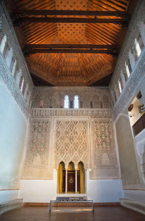 yiddish: TOLEDO - MARCH 27: interior of The Synagogue of El Transito,  famous for its rich stucco decoration on March 27, 2015 in Toledo, Spain