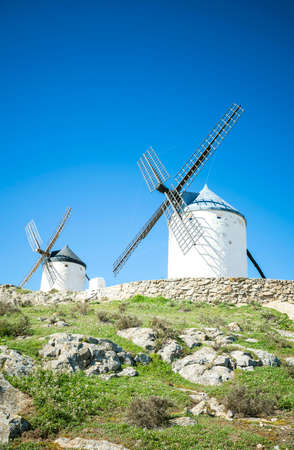 Traditional windmills in Consuegra, Toledo, Spain