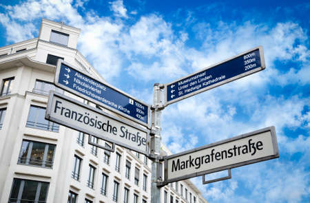 Road or street sign in Berlin, Germany Stock Photo