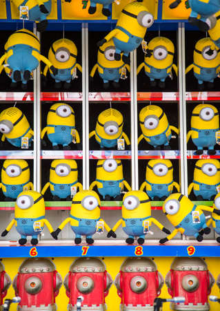LOS ANGELES CITY - SEPTEMBER 12: Minions at Santa Monica Pier September 12, 2015 in Los Angeles. Minions are famous character from Despicable Me animation.