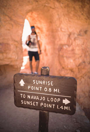 Wooden Sign Marker for Sunrise Point at Bryce Canyon National Park in Utah, United States