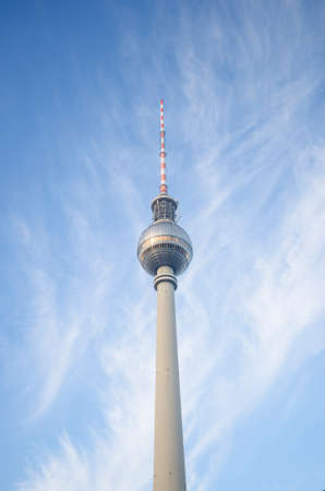 BERLIN - NOVEMBER 11: famous TV tower at Alexanderplatz in November 11, 2014 in Berlin, Germany. Thou once bisected by the Berlin Wall, the area has been rejuvenated since the early 1990s.