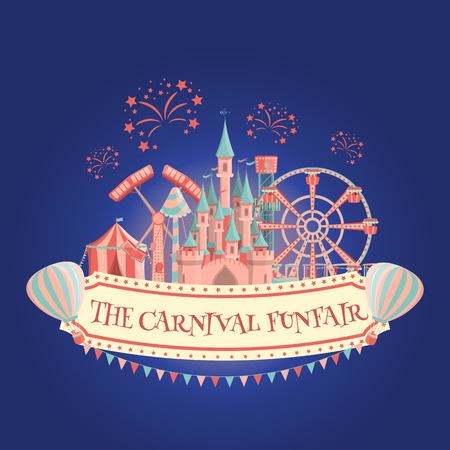 Carnival funfair amusement park banner. Vector illustration.