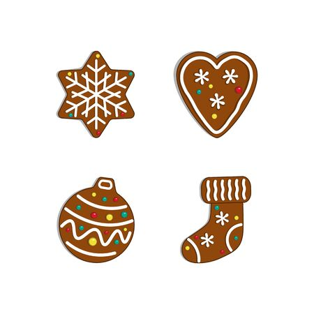 Christmas collection. Gingerbread  snowflake, heart, ball and sock Vector illustration.