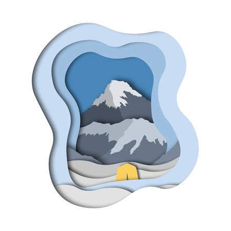 Everest base camp. Paper cut style. Vector illustration.