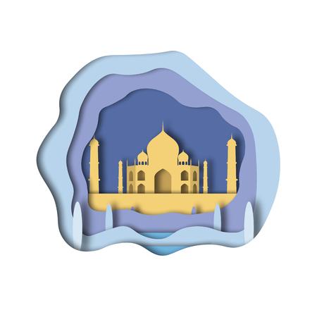 Taj Mahal. Paper cut style. Vector illustrtation. Ilustração