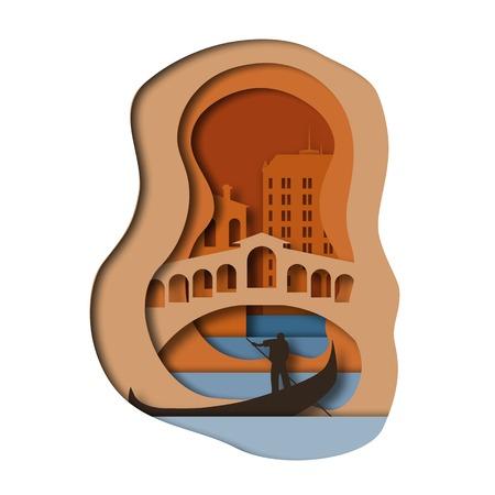 Paper art style background. Venice. Vector illustration.