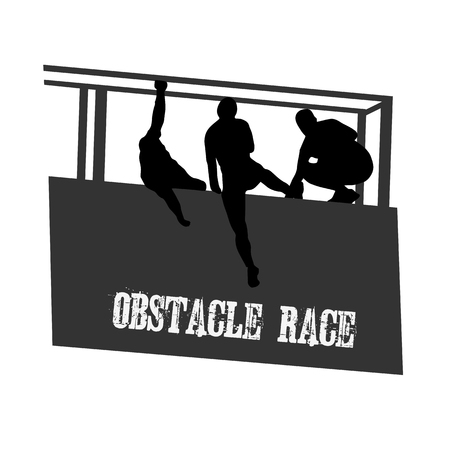Obstacle race illustration poster Çizim