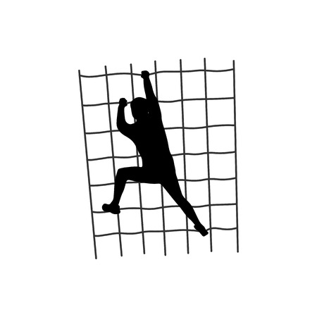 Silhouette of a figure climbing a net Vectores