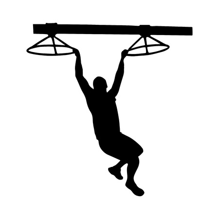 Black silhouette of a man overcoming the obstacle. Obstacle race symbol. Vector illustration. Фото со стока