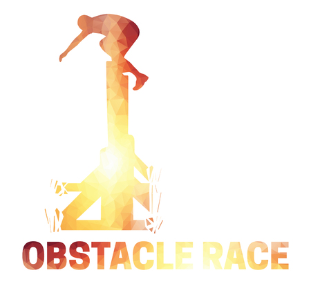 Silhouette of a man jumping over the wall. Obstacle race symbol in low polygonal style. Vectores