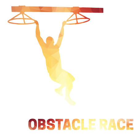 Silhouette of a man overcoming the obstacle. Obstacle race symbol. Low polygonal style. Vectores
