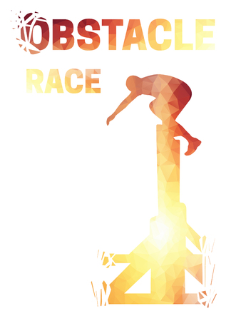 Silhouette of a man jumping over the wall. Obstacle race symbol. Low polygonal style.