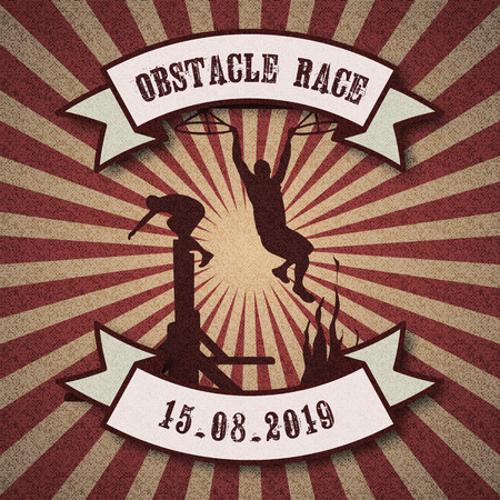 Silhouettes of people overcoming the obstacles - wall, ring, fire. Obstacle race symbol. Retro vintage style background with ribbon banners.