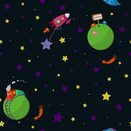 Seamless space pattern with cartoon planets with inhabitants, rockets, comets and stars. Vector illustration.