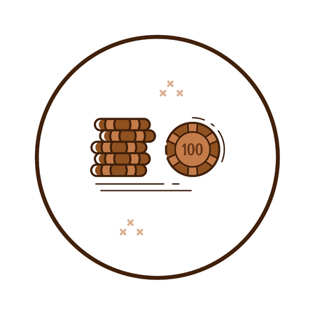 Line art casino chips icon in circle. Vector illustration. Banco de Imagens