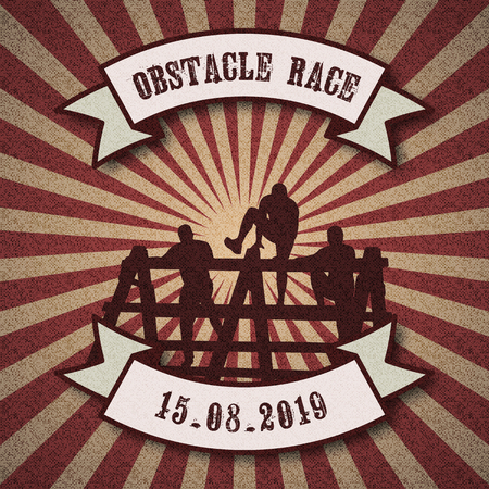 Silhouettes of people overcoming the obstacle, Obstacle race symbol in retro vintage style background with ribbon banners.