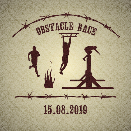 Silhouettes of  people running and overcoming the obstacles - stairs, wall and fire. Obstacle race symbol. Retro vintage style background with barbed wire. Vector illustration. Vectores