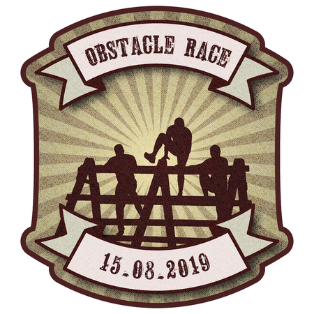Silhouettes of  people overcoming the obstacle. Obstacle race symbol. Retro vintage style background with ribbon banners. Vector illustration.