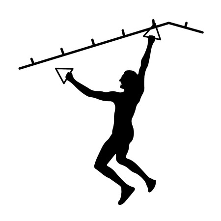 Black silhouette of athletic man overcoming the obstacle. Obstacle course symbol. Vector illustration. Stock Illustratie