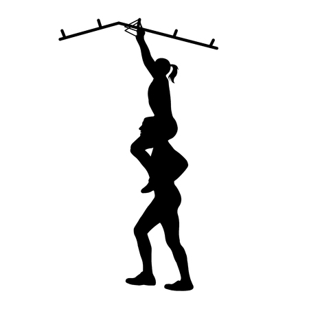 Black silhouettes of athletic man helping woman on his shoulders to overcome the obstacle. Team racing. Obstacle course symbol.  Vector illustration.