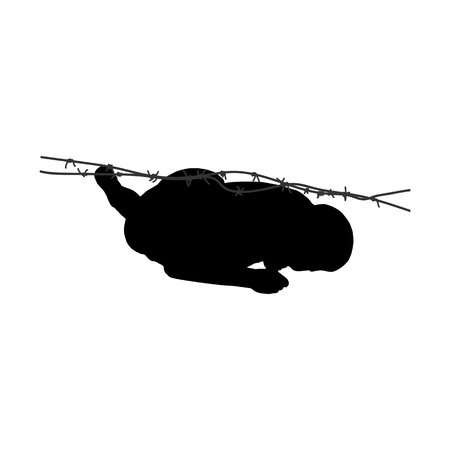 Black silhouette of athletic man creeping under the barbed wire. Obstacle course symbol. Vector illustration. Vectores