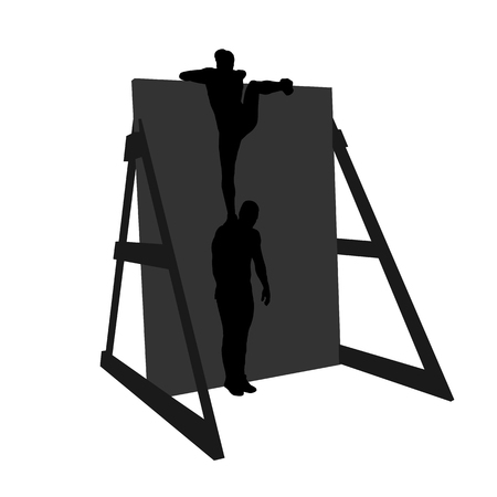 Black silhouettes of people and wall. Athletic man helping woman on his shoulders to climb over the obstacle. Team racing. Obstacle course symbol.  Vector illustration. Çizim