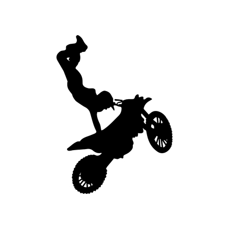 Isolated silhouette of freestyle motorcross trick. vector illustration.