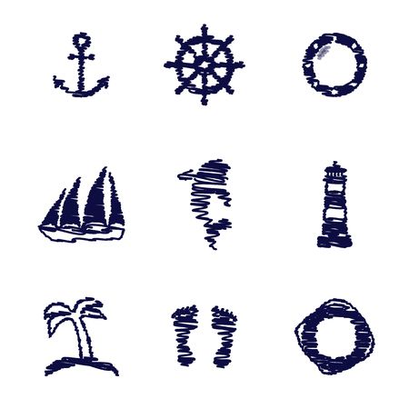 Set of scribble nautical and marine elements.Vector illustration