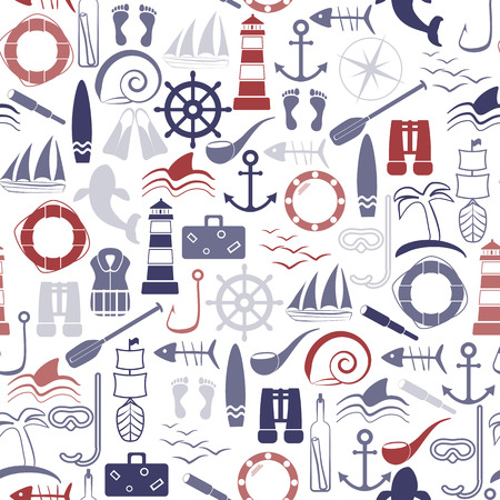 Nautical seamless pattern. Line art style. Vector illustration