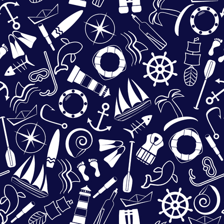 Nautical background. Line art style. Seamless pattern. Vector illustration