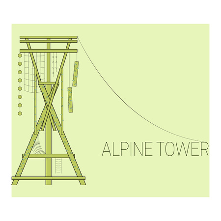 Alpine tower. Climbing tower. Adventure park icon.  Vector illustration