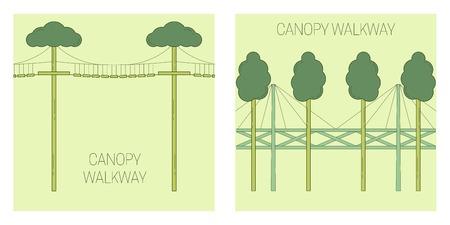 Canopy walk way. line art style. Vector illustration