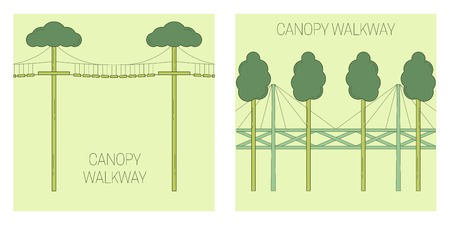 Canopy walk way. line art style. Vector illustration