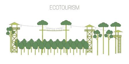 Eco tourism. line art style. Vector illustration