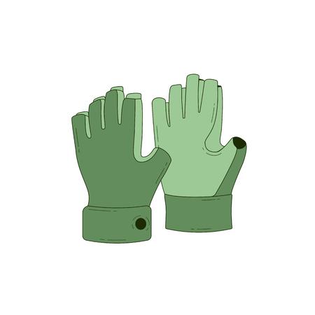 Halffinger gloves. line art style. Vector illustration Illustration