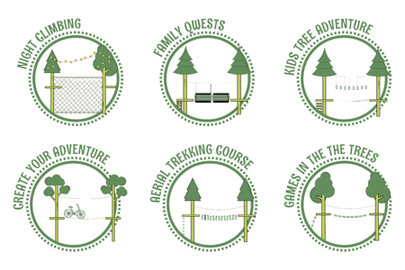 Set of adventure rope park stamps.Vector illustration.