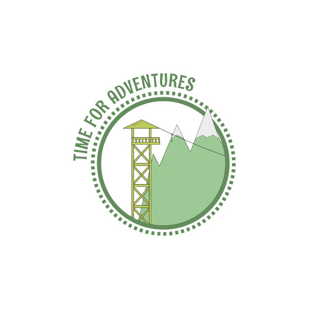 Time for adventures stamp. Zip line icon. Vector illustration