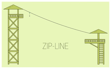 Zip line. Adventure rope park icon.  Vector illustration Illustration