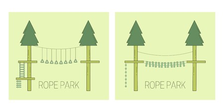 Rope park track on the trees. Vector illustration. Stock Illustratie
