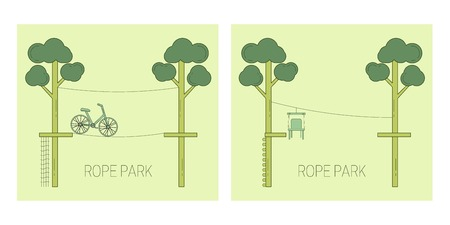 Rope park track on the trees. Vector illustration. Illustration