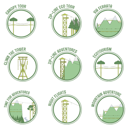 Set of eco tourism and zip line stamps. Vector illustration.