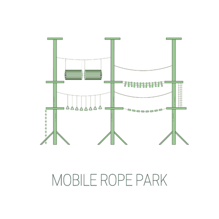 Mobile rope park. line art style. Vector illustration