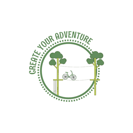 Adventure rope park stamp. line art style. Vector illustration.