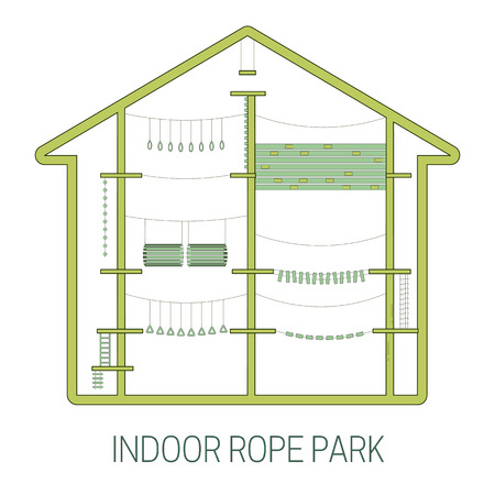 Indoor rope park. line art style. Vector illustration Illustration