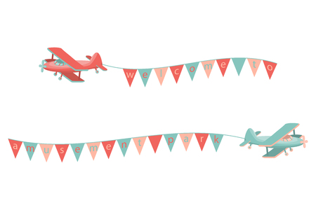 Cartoon airplane with flags on the rope. Vector illustration.