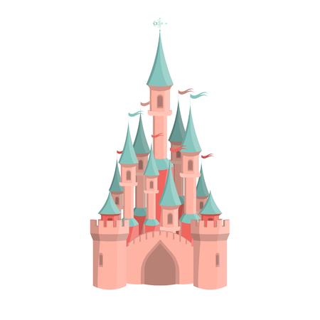 Cartoon pink castle icon. Isolated vector illustration. Standard-Bild - 101642150